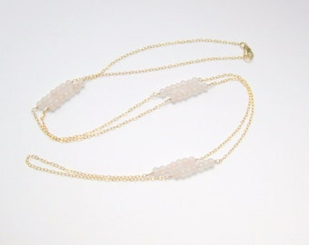 Pink Rose Quartz Gemstone Beaded Link Gold Filled Necklace - 30 Inches Long