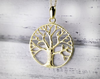 Tree Of Life Necklace Gold Plated Necklace Symbolic Spiritual Charm Nature Nacklace US Free Shipping Fashion Jewelry Birthday Holiday Gift