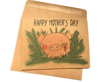 Happy Mother's day card cute mothers day card pig mothers day card happy mothers day card cute card for mom