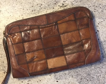 70s Vintage Worn Patchwork Brown Leather Clutch • Rare Piece •