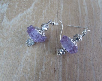 "Purple beads and Silver earrings Lampwork and Crystal ""Lavender"""