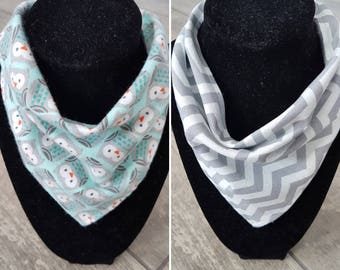 Reversible bandana drool bib - handmade - owls and chevron pattern cotton with solid grey cotton - baby accessories