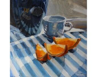Blue Striped Towel and Orange Slices