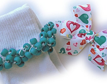 Kathy's Beaded Socks - Watercolor Hearts Socks and Hairbow, girls socks, school socks, turquoise socks, heart socks, watercolor socks