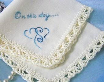 Wedding Handkerchief, Bridal Keepsake, Something Blue, Personalized, Embroidered, Ready to ship