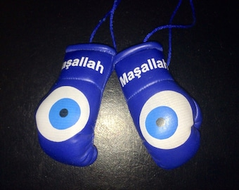 Nazar Evil Eye Car Mini Boxing Gloves Gift Turkish Good Luck Present Lucky Charm