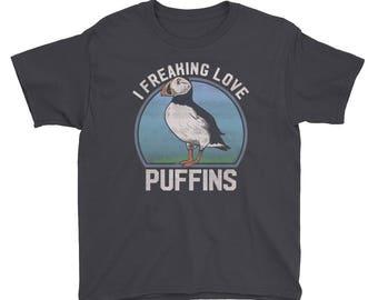 Youth Puffin T Shirt Seabirds, Puffin TShirt, Puffin Gift, Atlantic Puffin, Birds shirt, Puffin Seabird, Bird Lover Shirt, Puffins T-Shirt,