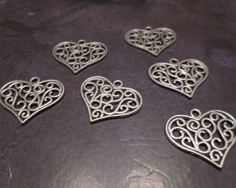 charm / pendant heart filigree arabesques silver 27 x 23 mm