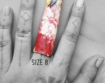 Midnight bloom ring print vegan long and short ring, vegan leather ring - size 8 Rannka