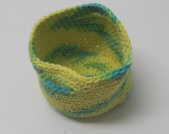Cotton basket, crochet basket with handles, cotton storage basket, Storage Bin