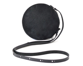 Cici - Handmade Black Leather Round Shoulder Bag Zip Pouch Purse SS17