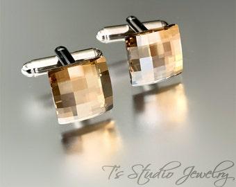 Swarovski Golden Shadow Crystal Square Chessboard Cufflinks - Neutral Sand Taupe