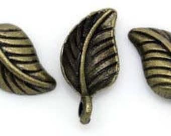 set of 10 charms leaf