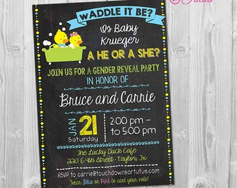 Waddle it Be Gender Reveal Invitation, Rubber Duck Gender Reveal Party Invitation Printable, Digital Chalkboard Baby Reveal Invite