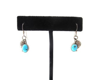 Pair of Vintage Sterling Silver 925 BL Signed Native American Southwestern Genuine Turquoise Pierced Dangle Earrings
