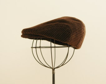Brown newsboy hat, brown flat cap, corduroy hat, toddler winter hat, boy newsboy hat, paper boy hat - made to order