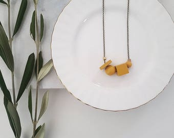 Mae Necklace | Petite Geometric beads | Mustard yellow