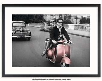 Romantic Couple On Scooter Poster