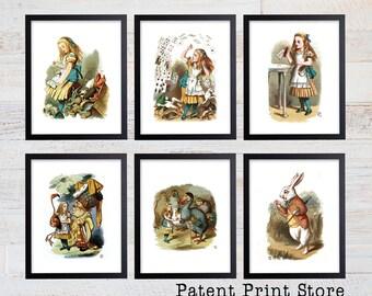 Alice in Wonderland Print Set. Alice in Wonderland Wall Art. Alice in Wonderland Decor. Alice in Wonderland Nursery. Baby Girl Nursery. 110