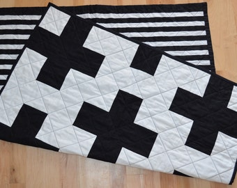 Black and White Striped Plus Quilt / Black and White Cross Quilt / Striped Plus Sign Quilt