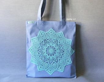 Denim tote bag, blue shopping bag, eco bag with crochet applique, grocery bag, summer canvas bag, market bag, beach bag, doily bag, handmade