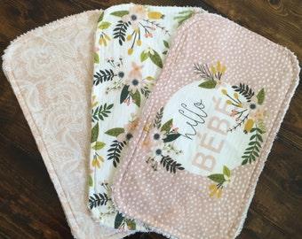 Hello Bebe, Floral, lace, Burp cloths