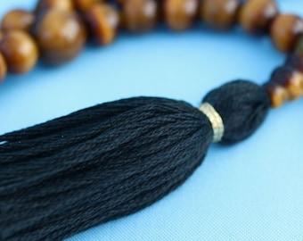 108 perles oeil de tigre collier Mala avec pompon noir pour plus de solidité - oeil de tigre perles de prière Mala