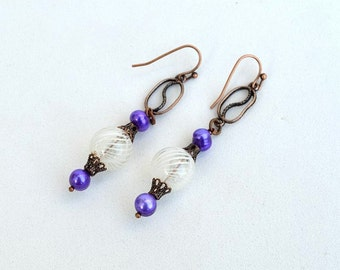 Bubbles and copper earrings White and purple earrings with copper components Real pearls and lampwork glass earrings Free shipping E1134