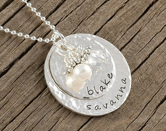 Personalized Necklace - Sterling Silver - Double Stacked - Name Pendant - Hammered - Mother's Necklace - Gold or Rose Gold available