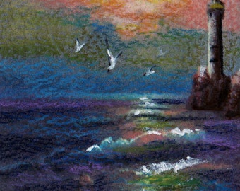 original art  aceo drawing lighthouse seascape sunset
