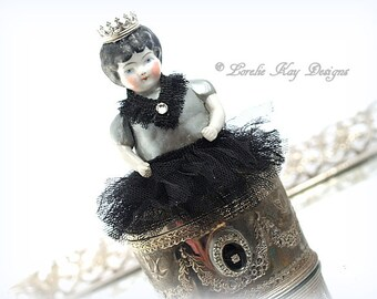 Miniature The Queen's Jewels Doll Jewelry Box Frozen Charlotte One-of-a-Kind Miniature Frozen Charlotte Ring Box Jewelry Casket