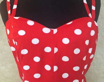 1990s Red and White Polkadot Omesie Romper Shorts Jumpsuit S M