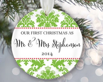 Our First Christmas Personalized Christmas Ornament Christmas Gift Custom Choose Pattern Name & Date Design your own Personalized Gift OR133