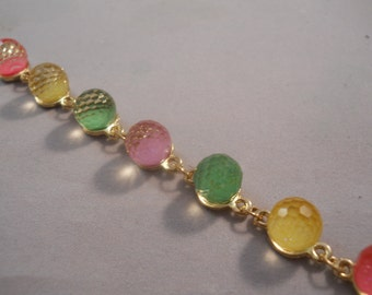 SALE Gold Link Bracelet with Yellow, Green and Pink Beads