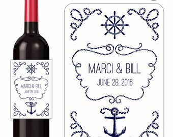 Wedding Wine Labels Personalized Labels Custom Wedding Stickers Nautical Labels Anchors Ropes