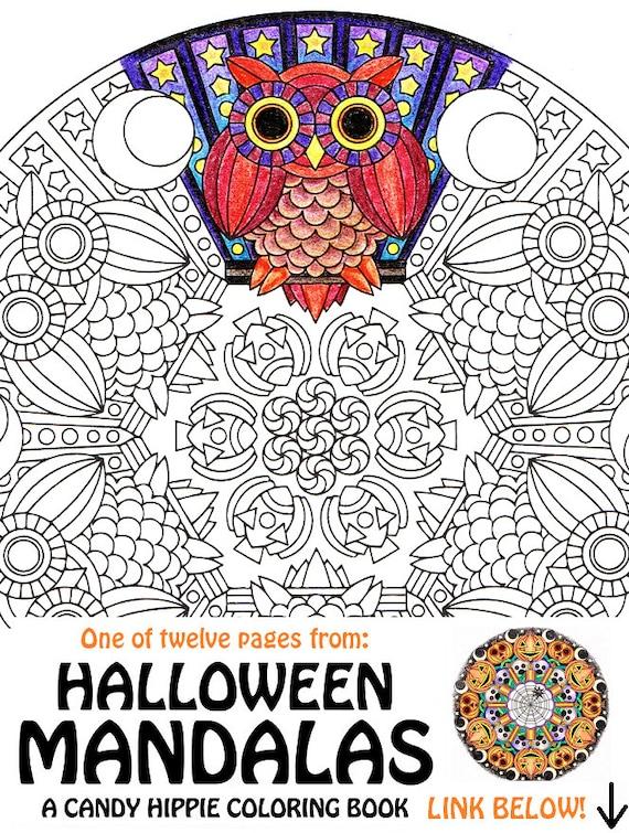 Items similar to Halloween Mandala Coloring Page Mr Mooneye