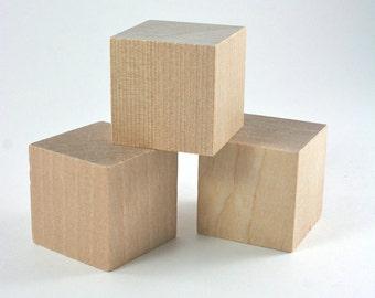 25 Unfinished Wood Blocks | 1.5 inch Wooden Blocks for Baby Shower Games DIY Baby Blocks, Name Blocks, Alphabet Blocks