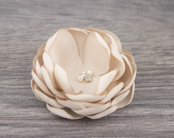 Champagne Wedding - Champagne Hair Clip - Champagne Hair Flower - Champagne Fascinator - Champagne Hair Comb - Champagne Flower Clip -Brooch