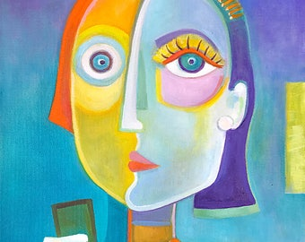 Selfie Original Oil Painting Modern Abstract Art Marlina Vera artwork Expressionism portrait portrait woman phone picasso style Modernism
