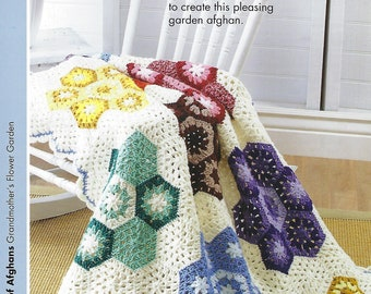 Grandmother's Flower Garden Afghan Crochet Pattern, Home Decor, Bedding, Sofa Throw, Bedspread, Crochet Blanket, Annie's Scrap Crochet