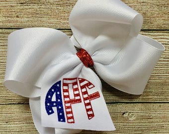 Large Monogrammed July 4th Hair Bow…Personalized Glitter Stars and Stripes Boutique Bow w/ Monogram…Custom July 4 Independence Day Hairbow