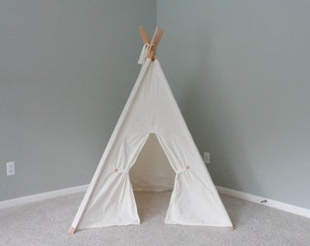Kids play tent, kids fort, playhouse, teepee with poles, kids fort, kids Christmas gift, handmade teepee tent, kids tipi