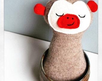 Cashmere Tan Sock Monkey Style Beddy Bye Beast - Baby Plush, Doll, Plushie, Stuffed Animal - Soft - Cuddly - Upcycled - Baby Gift - baby Toy