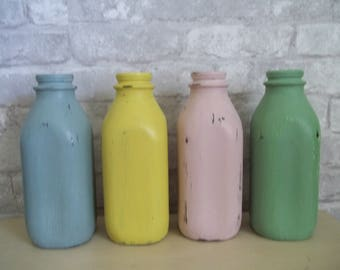 Chalk Paint Milk Bottle Upcycled Rustic Shabby Chic Vase ~ Choice of Color