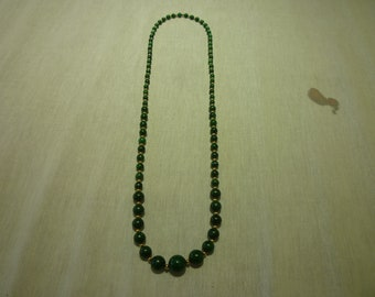 L50 Vintage Beaded Malachite with Gold Beads Necklace.