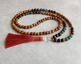 The GEMINI Mala - Tigerseye & Moss Agate with Quartz Crystal / Robles Wood - Orange Tassel - Intellectual - Eloquent - Item # 703