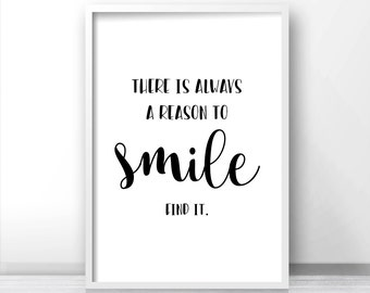 Quote Print Smile, Digital Download Art, Printable Wall Art, Black White Print, Printable Quote, Typography Print, Wall Art Quote, Art Print