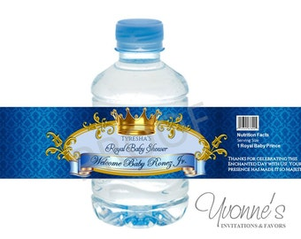 Royal Baby Boy Water Bottle Wrappers - for Baby Shower, First Birthday in Royal Blue and Gold - SET of 12