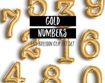 Gold Foil Mylar Balloons Clipart Numbers | Gold Balloon Clipart | Birthday Clipart | Party Clipart | Birthday Graphics Commercial Use