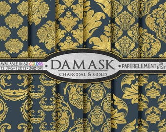 Charcoal Gray and Gold Damask Paper  - Gold and Gray Digital Paper - Damask Wedding Paper for Gold and Gray Wedding Printable Backgrounds